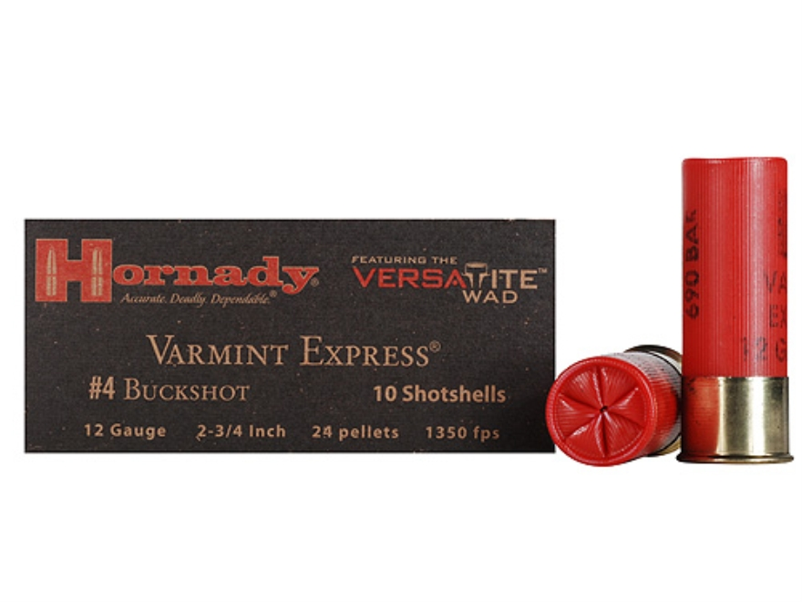 "Hornady Varmint Express Buckshot Ammunition 12 Gauge 2-3/4"" #4 Buckshot 24 Pellets Box of 10"