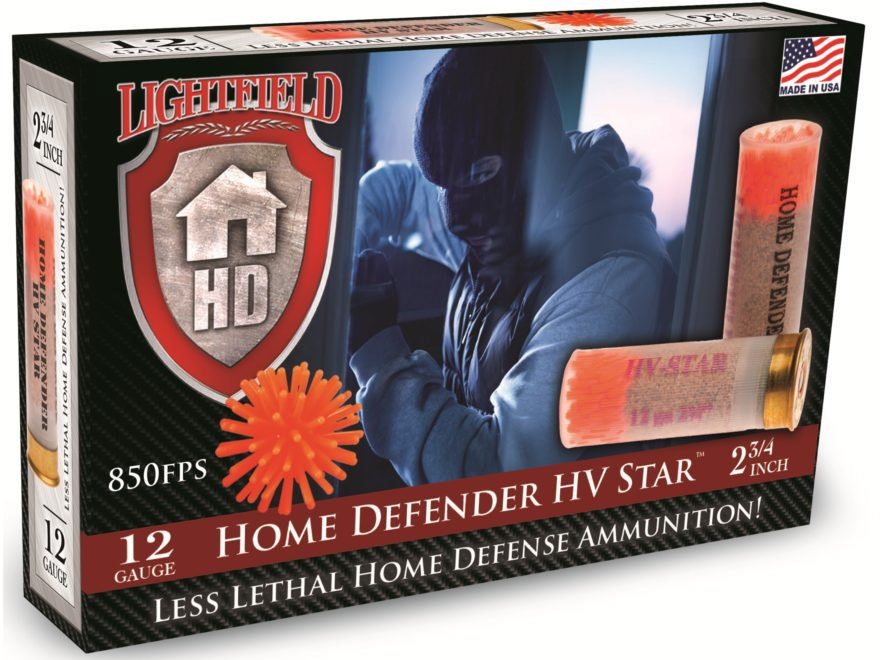 "Lightfield Home Defender Less Lethal Ammunition 12 Gauge 2-3/4"" 75 Grain High Velocity Rubber Star Slug Box of 5"