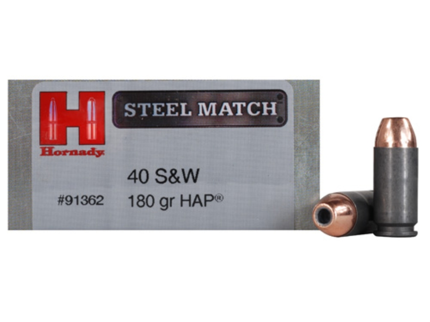 Hornady Steel Match Ammunition 40 S&W 180 Grain Jacketed Hollow Point HAP Steel Case Box of 50