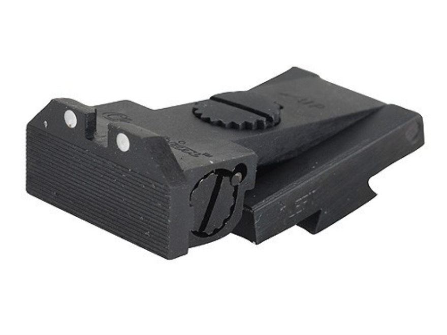 Kensight Adjustable Rear Sight 1911 Bo-Mar Cut Steel Black Beveled Blade Serrated with White Dots
