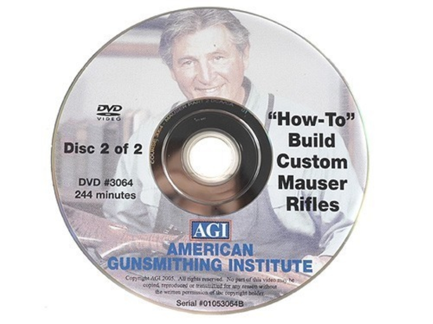"American Gunsmithing Institute (AGI) Video ""Build Your Own Custom Mauser Rifle"" 2 Volume Set DVD"