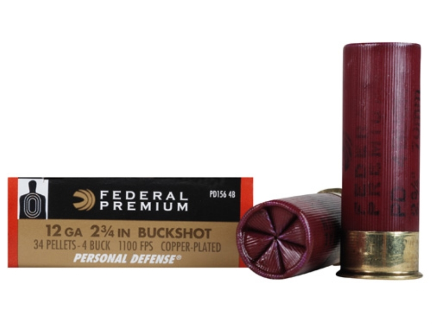 "Federal Premium Personal Defense Ammunition 12 Gauge 2-3/4"" Reduced Recoil #4 Buckshot 34 Pellets Box of 5"