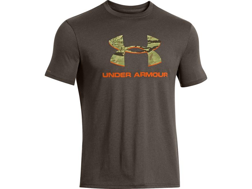 Under armour men 39 s camo fill logo t shirt short sleeve cotton for Under armour brown t shirt