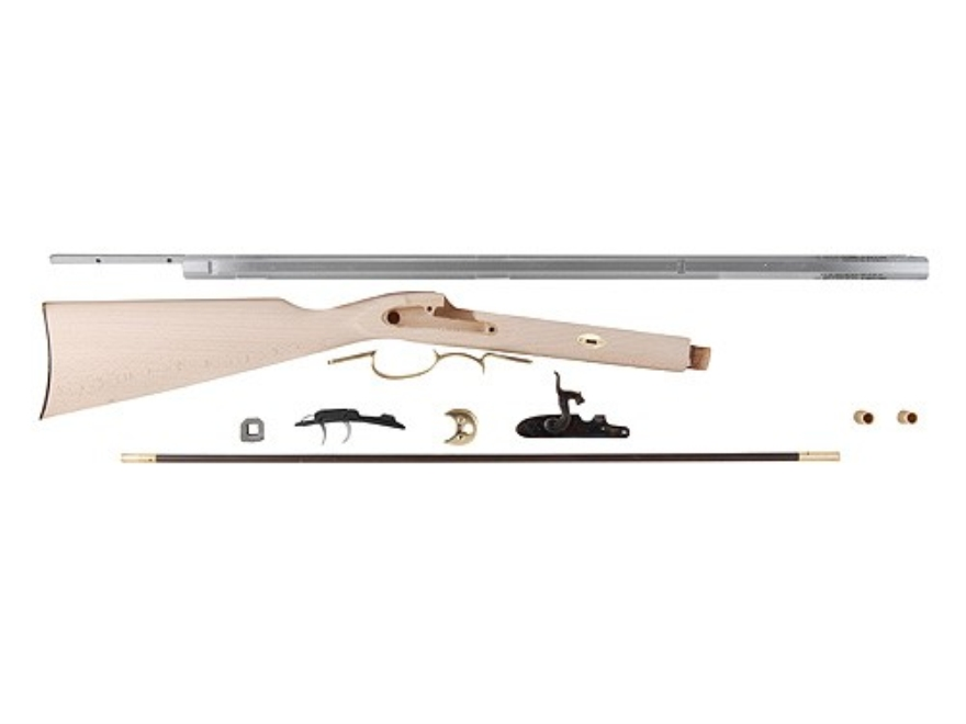 "Traditions Frontier Black Powder Rifle Unassembled Kit 50 Caliber Percussion 1 in 48"" Twist 28"" Barrel in the White"