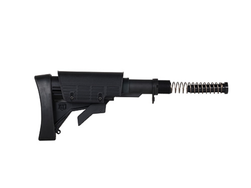 Advanced Technology Strikeforce Stock Assembly 6-Position Collapsible Commercial Diameter with Cheekrest & Scorpion Recoil Pad AR-15 Carbine Polymer Black