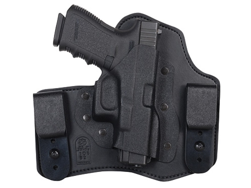 DeSantis Intruder Inside the Waistband Holster Right Hand Glock 17, 19, 22, 23, 26, 27, 34, 35 Kydex and Leather Black