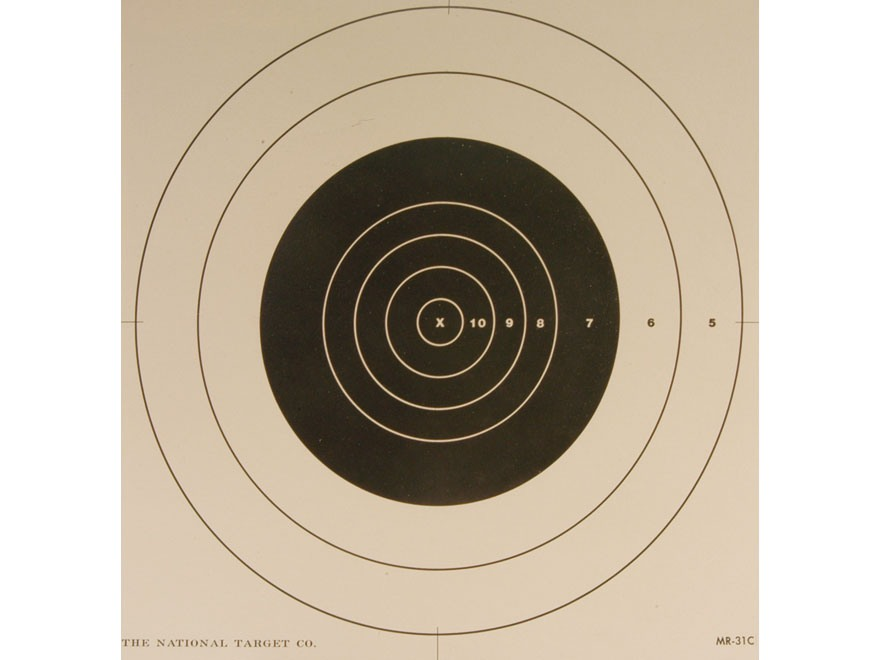 NRA Official High Power Rifle Targets Repair Center MR-31C 100 Yard Slow Fire Paper Package of 100