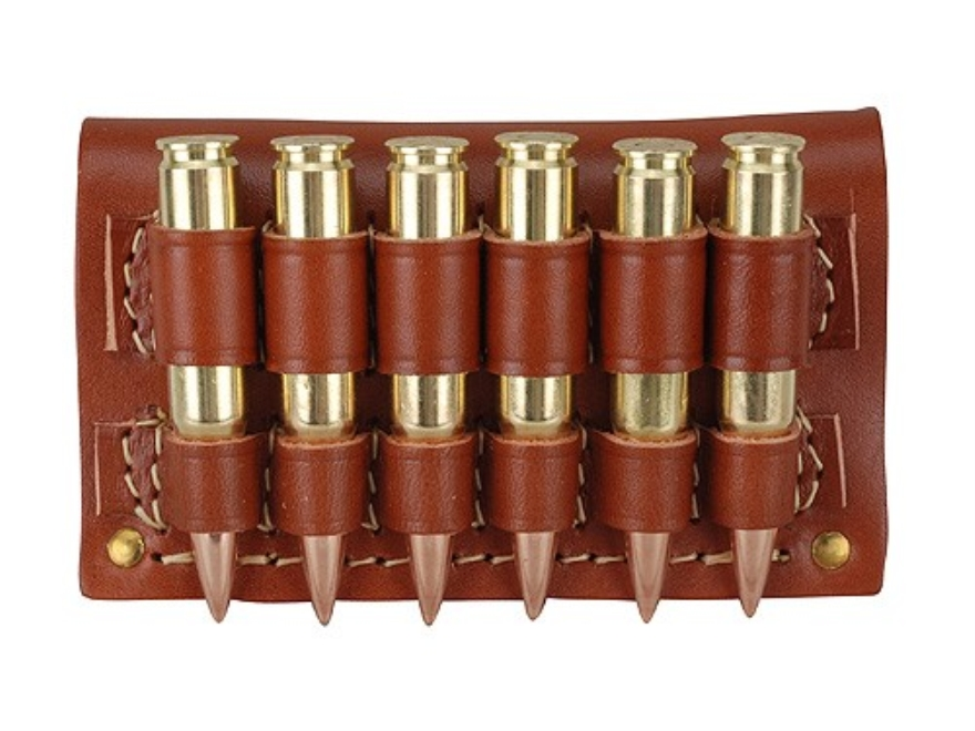 Hunter Cartridge Belt Slide Rifle Ammunition Carrier 300 through 375 Caliber Magnum 6-Round Leather Brown
