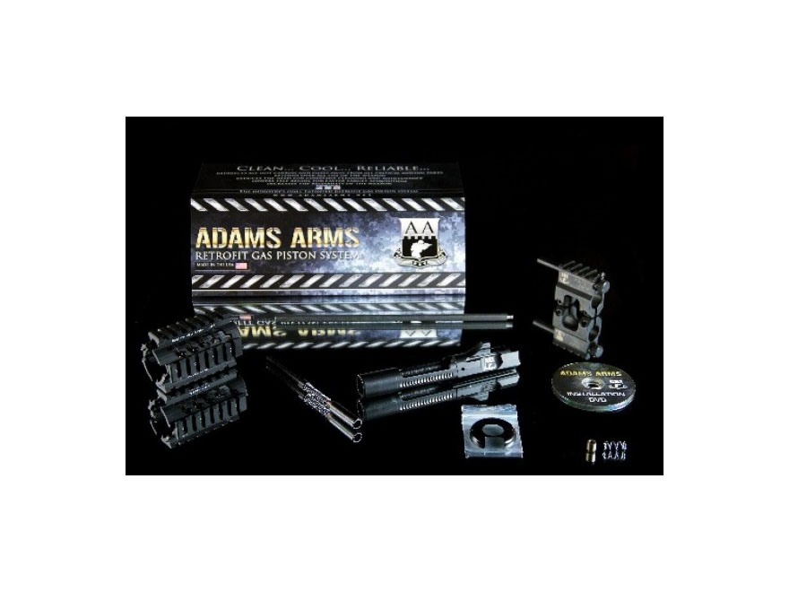 "Adams Arms Gas Piston Conversion Retrofit Kit AR-15 Pistol Length with Free Float Quad Rail Handguard & .750"" Diameter Single Rail Gas Block"