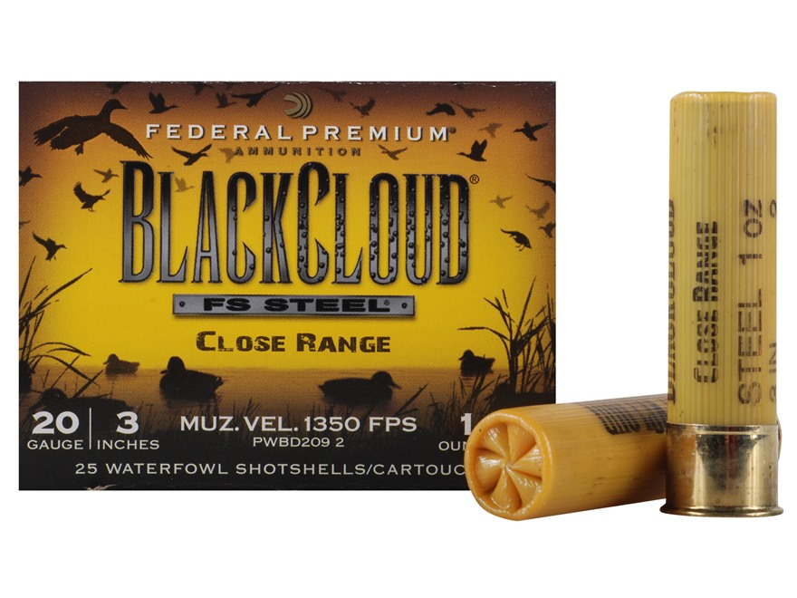 "Federal Premium Black Cloud Close Range Ammunition 20 Gauge 3"" 1 oz  #2 Non-Toxic FlightStopper Steel Shot"