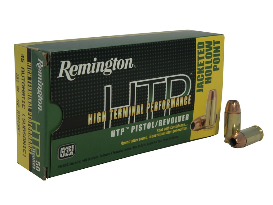 Remington High Terminal Performance Ammunition 45 ACP 230 Grain Jacketed Hollow Point Box of 50