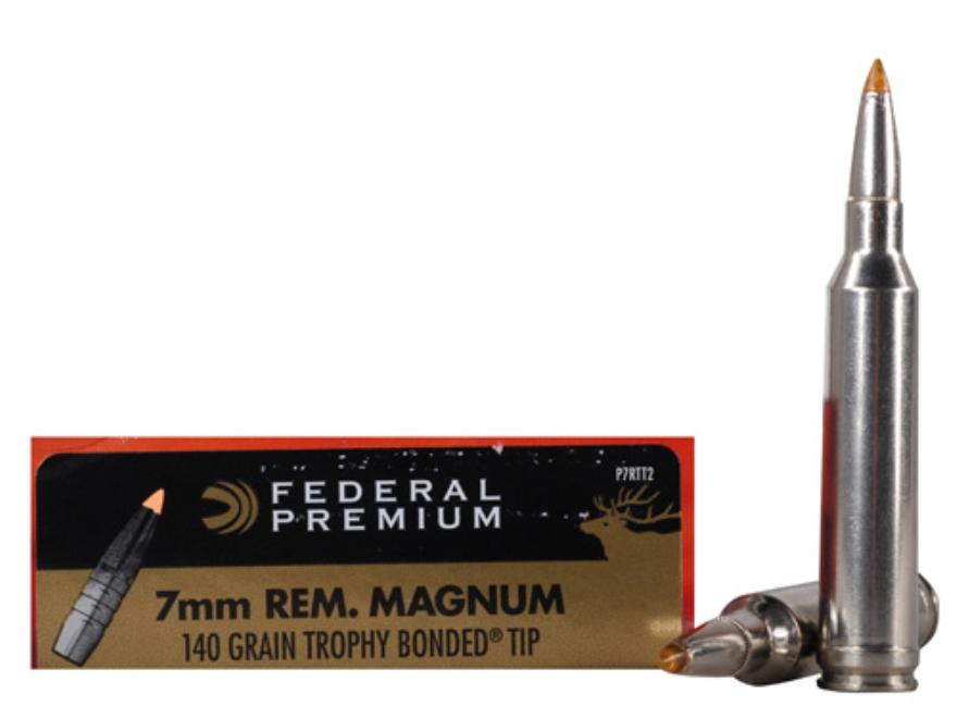 Federal Premium Vital-Shok Ammunition 7mm Remington Magnum 140 Grain Trophy Bonded Tip ...