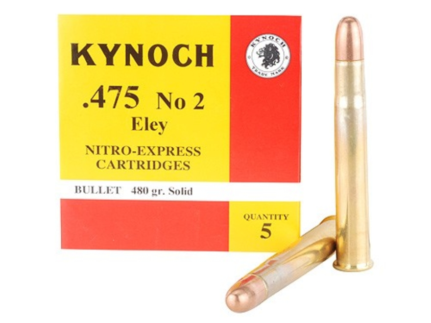 Kynoch Ammunition 475 Number2 Nitro Express Eley 480 Grain Woodleigh Welded Core Solid ...