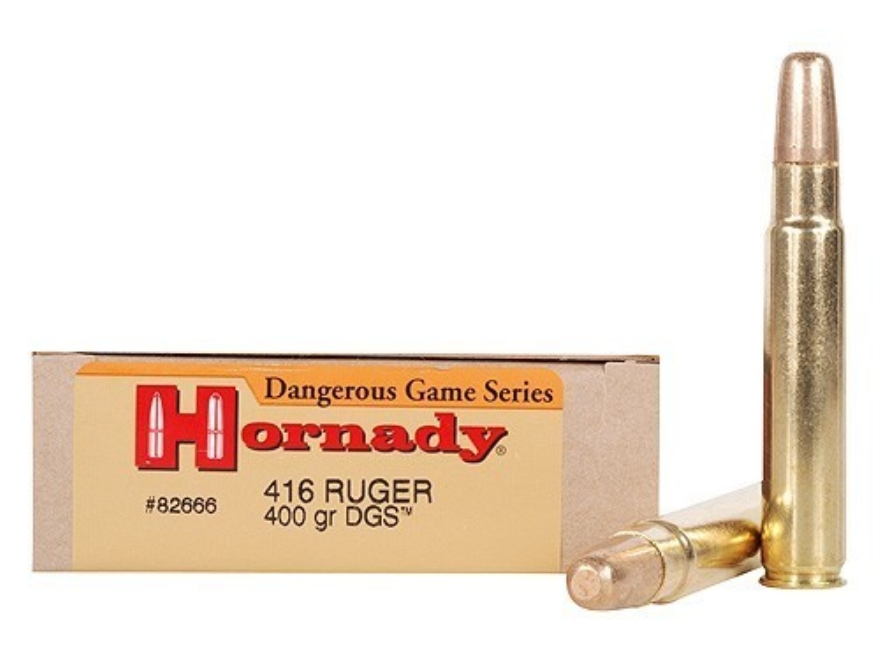 Hornady Dangerous Game Ammunition 416 Ruger 400 Grain DGS Round Nose Solid Box of 20