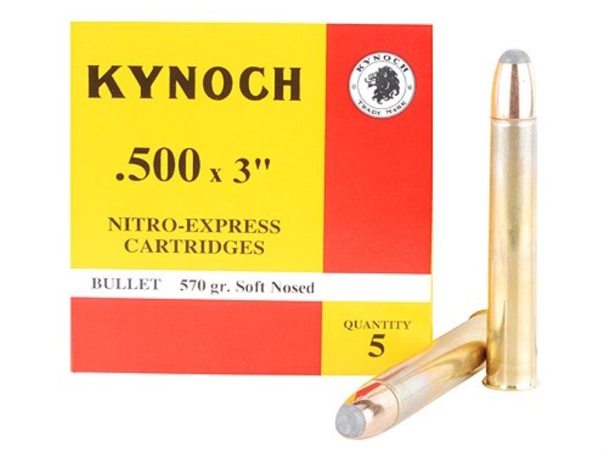 "Kynoch Ammunition 500 Nitro Express 3"" 570 Grain Woodleigh Weldcore Soft Point Box of 5"