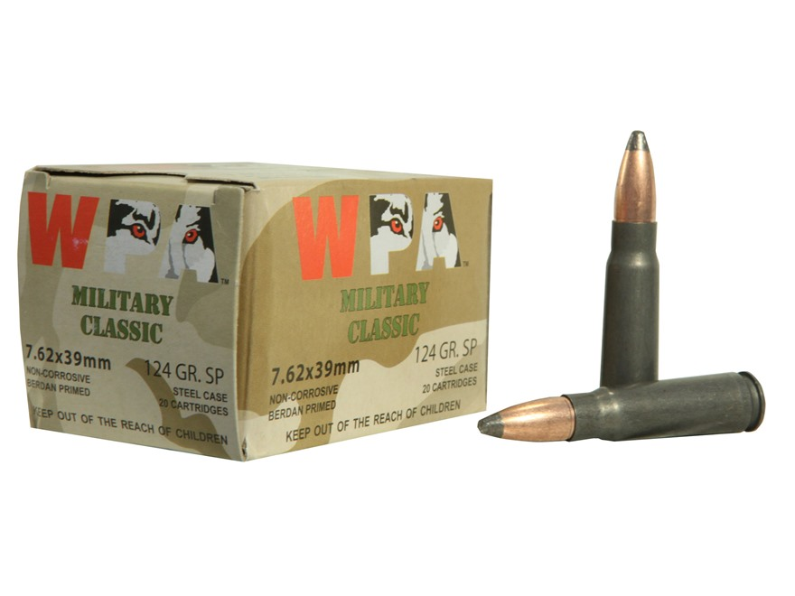 Wolf Military Classic Ammunition 7.62x39mm 124 Grain Jacketed Soft Point (Bi-Metal) Steel Case Berdan Primed Box of 500 (25 Boxes of 20)