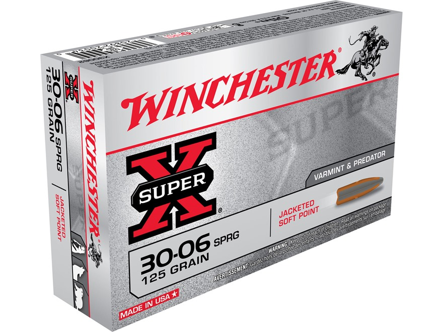 Winchester Super-X Ammunition 30-06 Springfield 125 Grain Pointed Soft Point