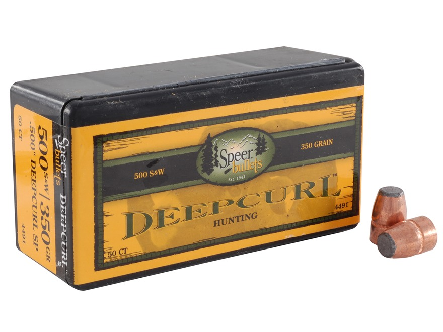 Speer DeepCurl Bullets 50 Caliber (500 Diameter) 350 Grain Bonded Jacketed Soft Point Box of 50