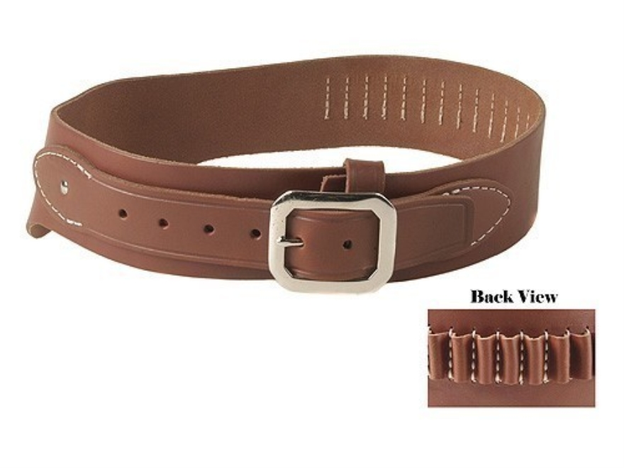 Oklahoma Leather Cowboy Drop-Loop Cartridge Belt 38, 357 Caliber Leather Brown Small