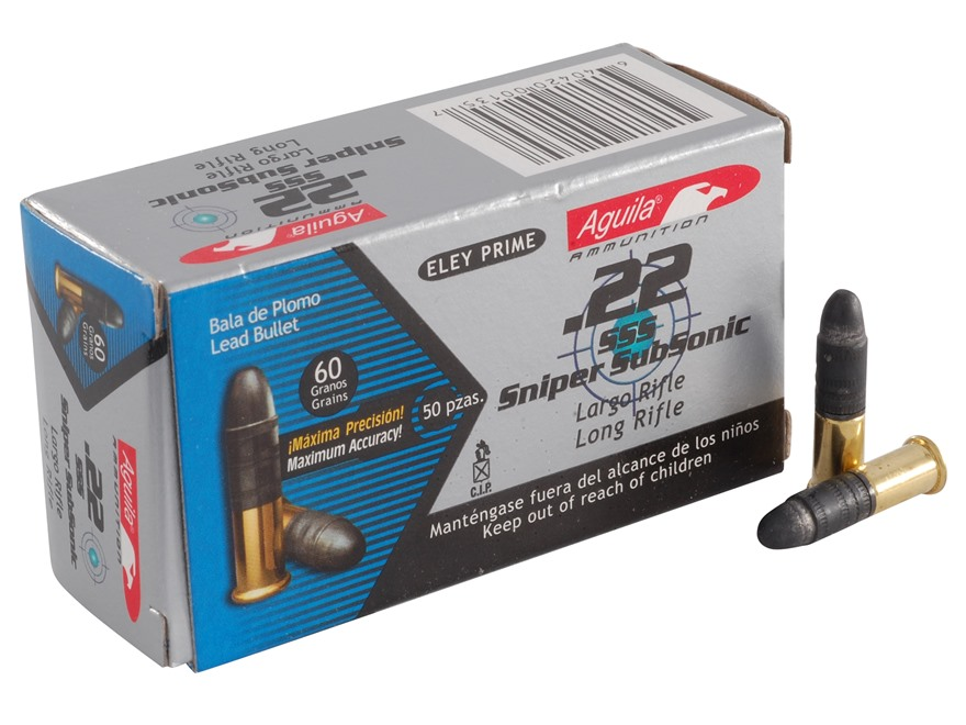 Aguila SSS Sniper Subsonic Ammunition 22 Long Rifle 60 Grain Lead Round Nose Box of 500 (10 Boxes of 50)