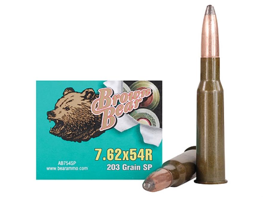 Brown Bear Ammunition 7.62x54mm Rimmed Russian 203 Grain Soft Point (Bi-Metal) Box of 20