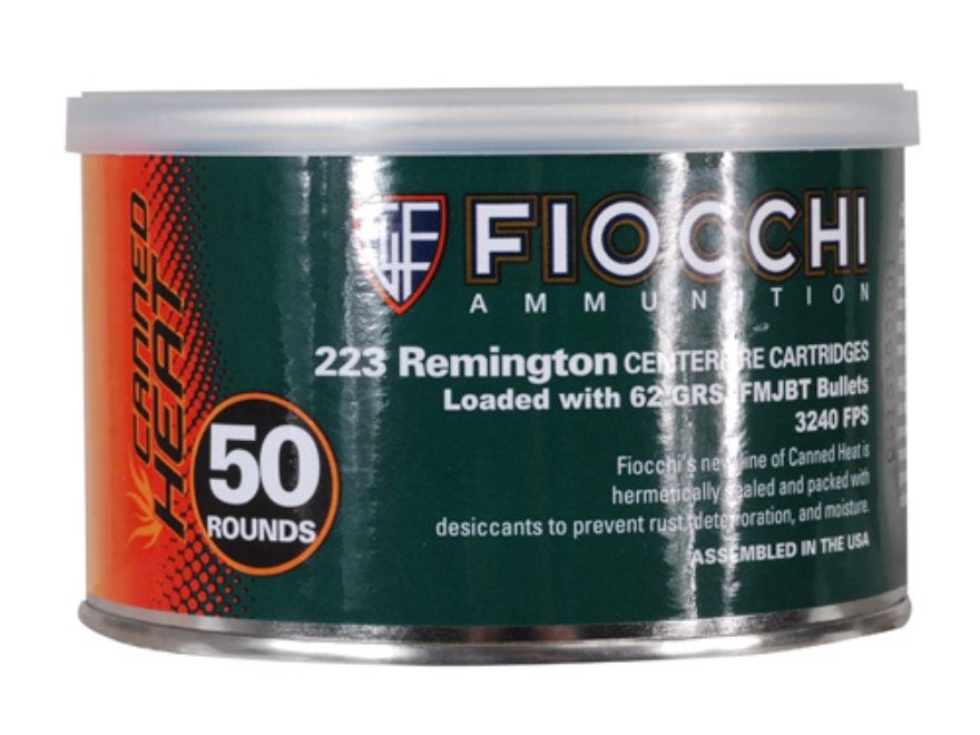 Fiocchi Canned Heat Ammunition 223 Remington 62 Grain Full Metal Jacket Boat Tail Can of 50