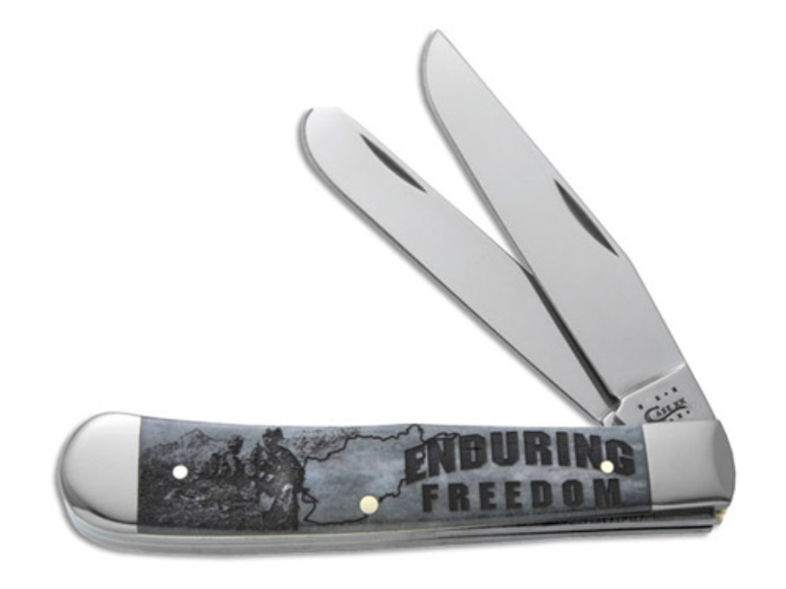 Case 7071 Image XX War Trapper Folding Pocket Knife 2 Blade Spey and Clip Point Stainless Steel Blades Grey Bone Handle with Enduring Freedom Engraved on Handle Grey