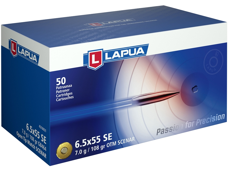Lapua Scenar Ammunition 6.5x55mm Swedish Mauser 108 Grain Hollow Point Boat Tail Box of 50