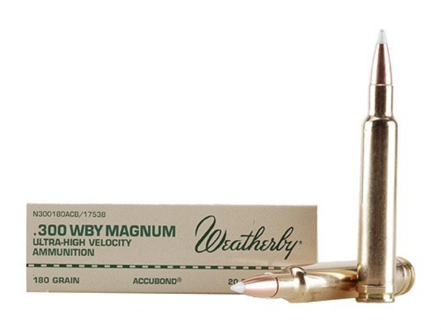Weatherby Ammunition 300 Weatherby Magnum 180 Grain Nosler AccuBond Box of 20