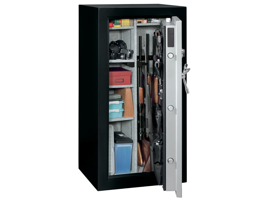 Stack-On Total Defense Fire-Resistant 28-Gun Safe with Combination Lock Matte Black and Silver with Door Storage