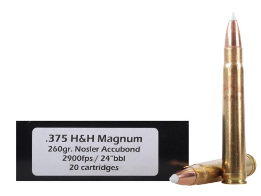 Doubletap Ammunition 375 H&H Magnum 260 Grain Nosler AccuBond Spitzer Box of 20