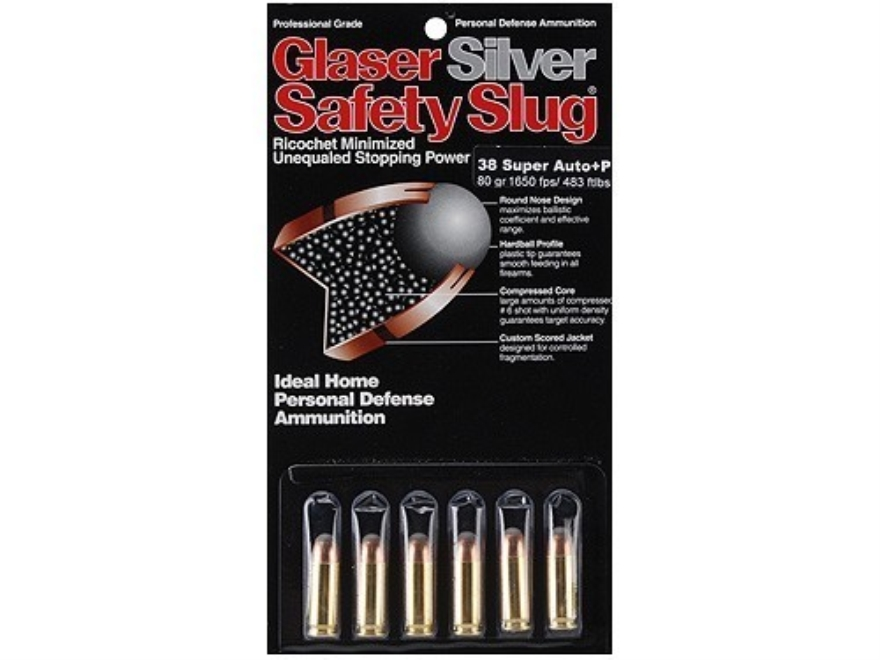 Glaser Silver Safety Slug Ammunition 38 Super 80 Grain Safety Slug Package of 6