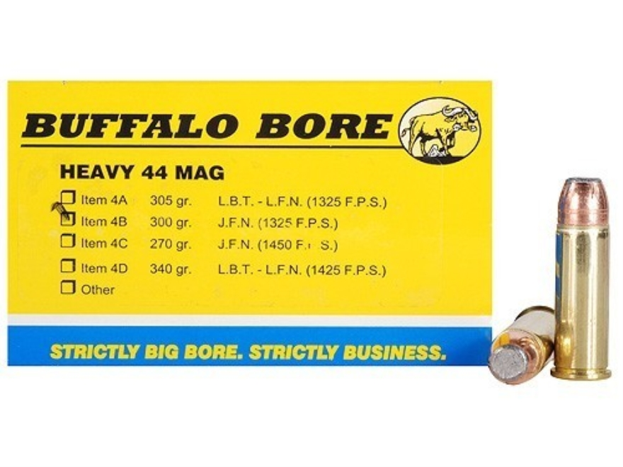 Buffalo Bore Ammunition 44 Remington Magnum 300 Grain Jacketed Flat Nose