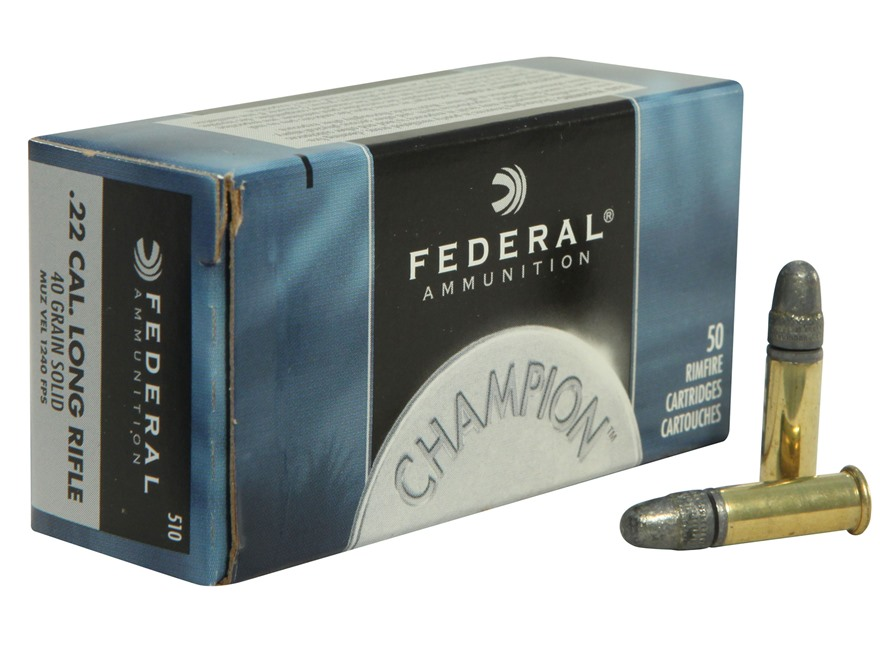 Federal Champion Ammunition 22 Long Rifle High Velocity 40 Grain Lead Round Nose