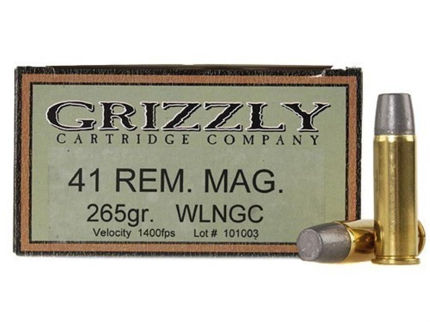 Grizzly Ammunition 41 Remington Magnum 265 Grain Cast Performance Lead Wide Flat Nose Gas Check Box of 20