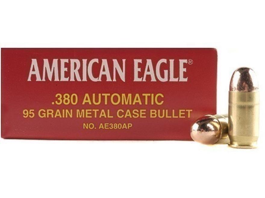 Federal American Eagle Ammunition 380 ACP 95 Grain Full Metal Jacket Box of 50