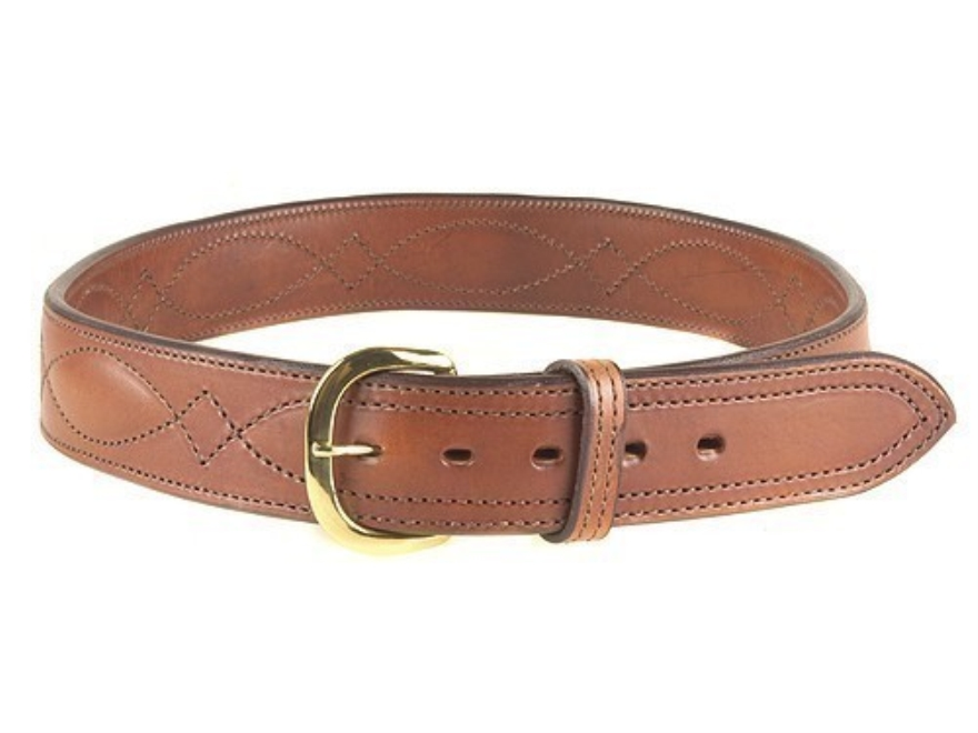 "Bianchi B21 Contour Belt 1-3/4"" Brass Buckle Leather Tan 38"""