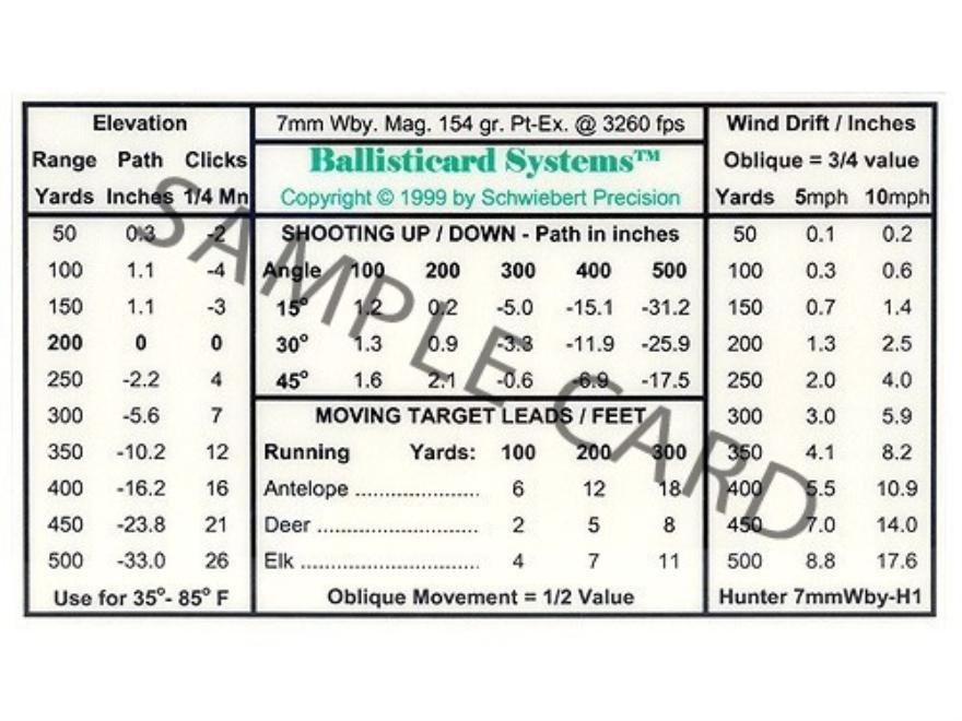 Schwiebert Precision Ballisticard 340WbyH1