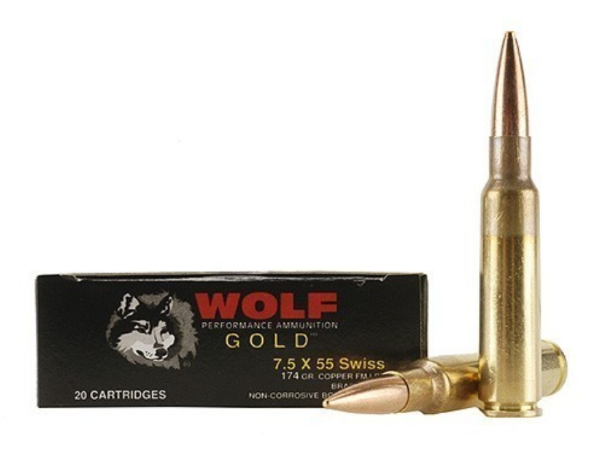 Wolf Gold Ammunition 7.5mm Schmidt-Rubin (7.5x55mm Swiss) 174 Grain Full Metal Jacket B...