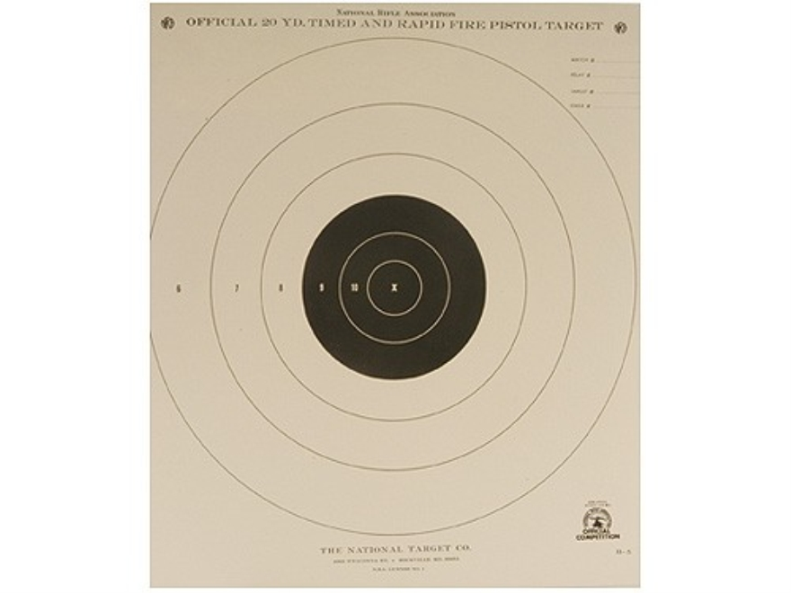 NRA Official Pistol Targets B-5 20 Yard Timed and Rapid Fire Paper Package of 100