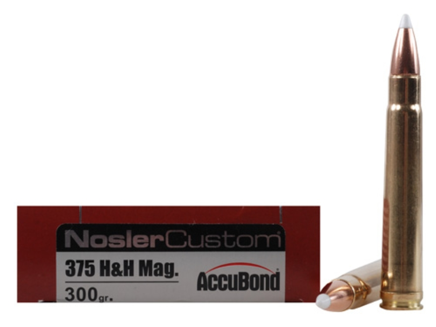 Nosler Trophy Grade Ammunition 375 H&H Magnum 300 Grain AccuBond Box of 20