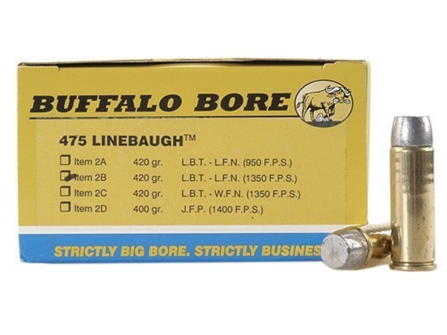 Buffalo Bore Ammunition 475 Linebaugh 420 Grain High Velocity Lead Long Flat Nose Box of 20