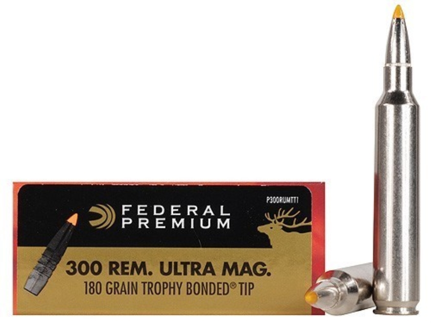Federal Premium Vital-Shok Ammunition 300 Remington Ultra Magnum 180 Grain Trophy Bonde...