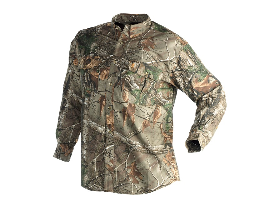 Browning Men's Wasatch Shirt Long Sleeve Cotton Polyester Blend Realtree Xtra Camo Large 43-45