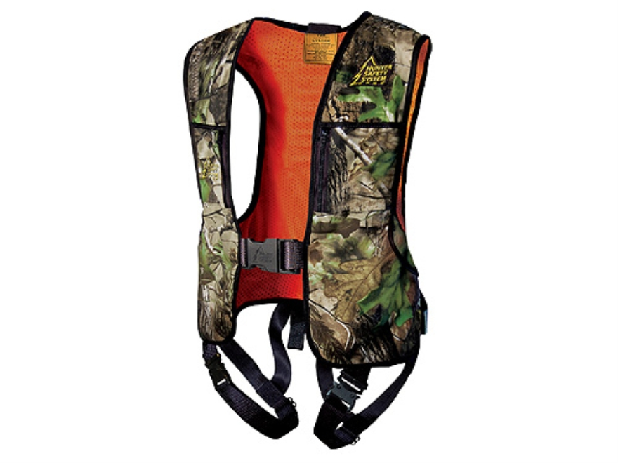 Hunter Safety System Reversible HSS-400 Treestand Safety Harness Vest Realtree APG Camo and Blaze Orange Small/Medium 32-44 Chest