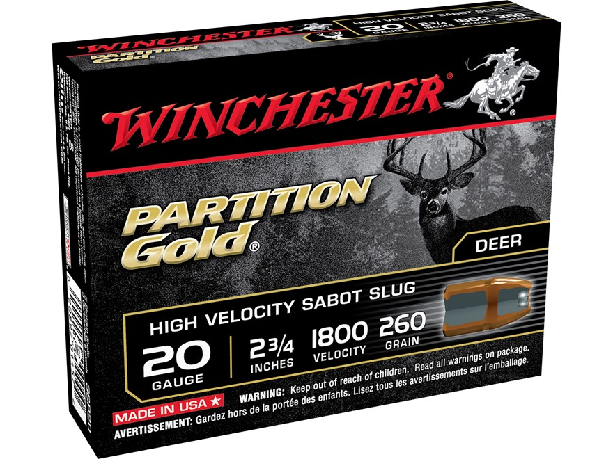 "Winchester Supreme Ammunition 20 Gauge 2 3/4"" 260 Grain Partition Gold Sabot Slug"