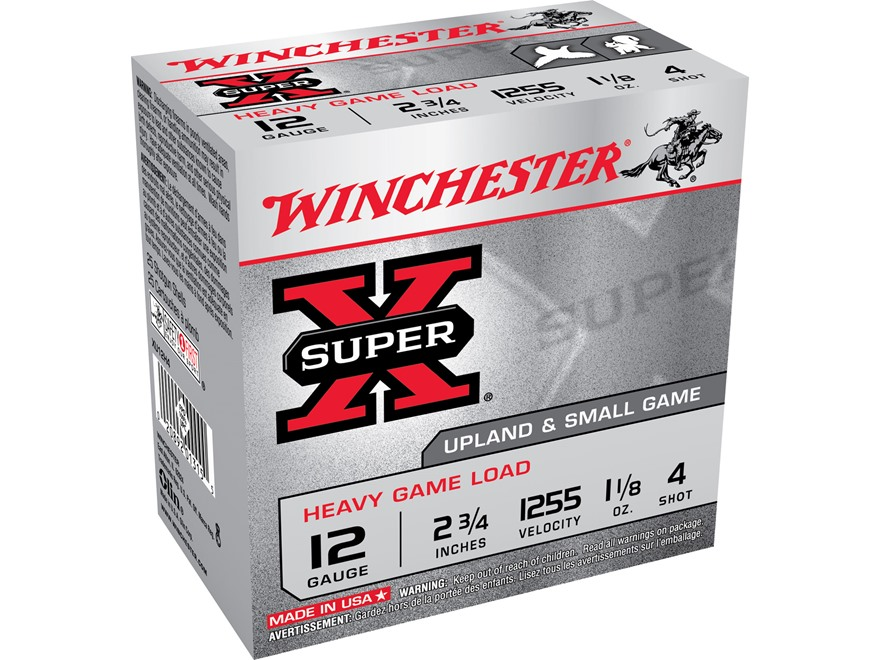 "Winchester Super-X Heavy Game Load Ammunition 12 Gauge 2-3/4"" 1-1/8 oz #4 Shot"