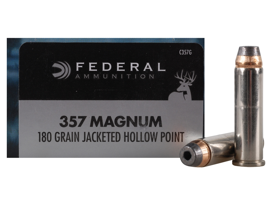 Federal Power-Shok Hunting Ammunition 357 Magnum 180 Grain Jacketed Hollow Point Box of 20