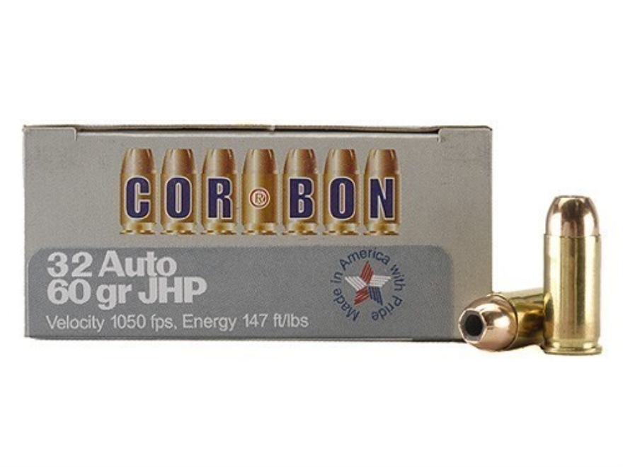 Cor-Bon Self-Defense Ammunition 32 ACP 60 Grain Jacketed Hollow Point Box of 20