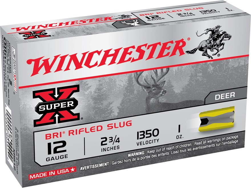 "Winchester Super-X Ammunition 12 Gauge 2-3/4"" 1 oz BRI Sabot Slug Box of 5"